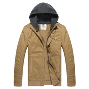 Fall/winter recreation tread new men's slim hooded coat warm lightweight jacket men short fashion leisure boom