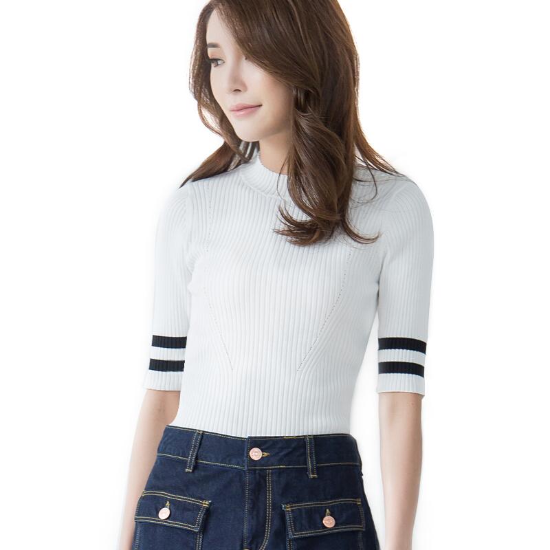 套头冰丝针织衫女夏薄款中高圆领中短袖高弹力韩国新版罗纹衫