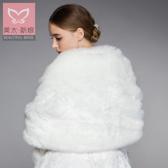 Beauty is just too Lady XL arc cloak white double-sided bride winter thick wool shawl yarn P0023