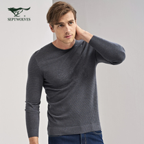 Seven Wolf sweaters young mens head round neck thin sweater dark grain jacquard sweater wool blended mens Tide