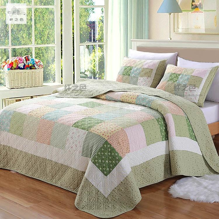 纤之色韩式田园衍缝被单件床盖三件套空调被子母夏纯棉绿色四件套