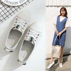 春夏季新款单鞋小白鞋女士学生软底透气浅口平底鞋时尚裸色蝴蝶结