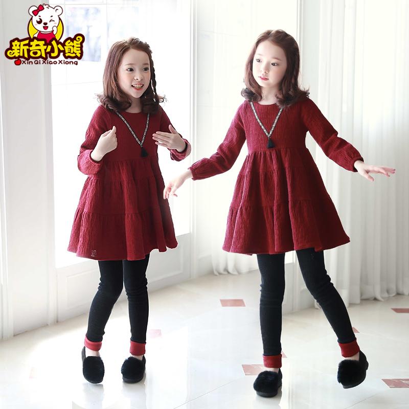 Girls dress autumn dress 2021 new long sleeve Princess Dress wine red cotton middle school childrens leisure Korean national style