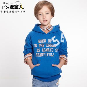 小虎宝儿品牌童装男童加绒卫衣中大童连帽套头衫春装上衣儿童外套
