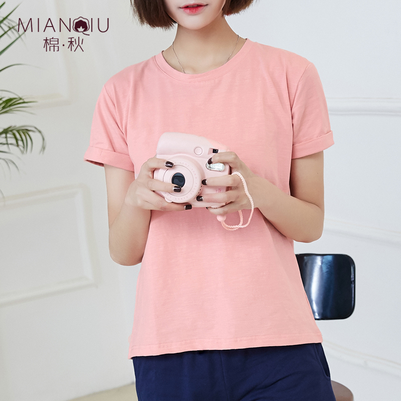 纯色短袖t恤女春夏2020新款粉色纯棉上衣显瘦宽松卷边袖半袖体恤