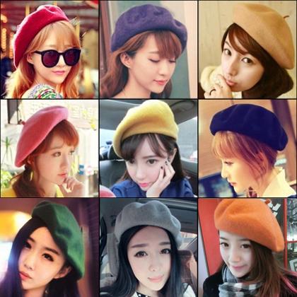 Электронной почте корейский художник берет шляпу Зимняя шапка берет осенью и зимой бутоны линии Кап шерсть шляпа леди