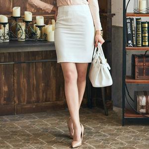 Only Angel包臀裙女春夏一步裙白色职业西装短裙高腰弹力半身裙子
