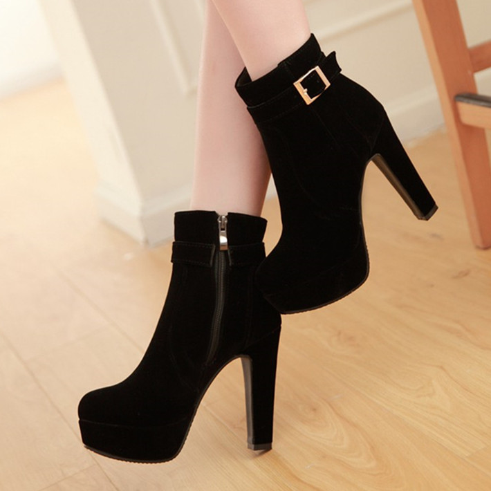 Korean high heeled thick soled womens shoes autumn and winter Suede Black Short boots and bare boots red Martin boots womens boots wedding boots