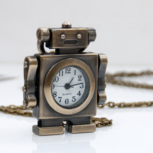 The new cartoon robot pocket watch necklace retro sweater chain jewelry wholesale Korean fashion fashion table