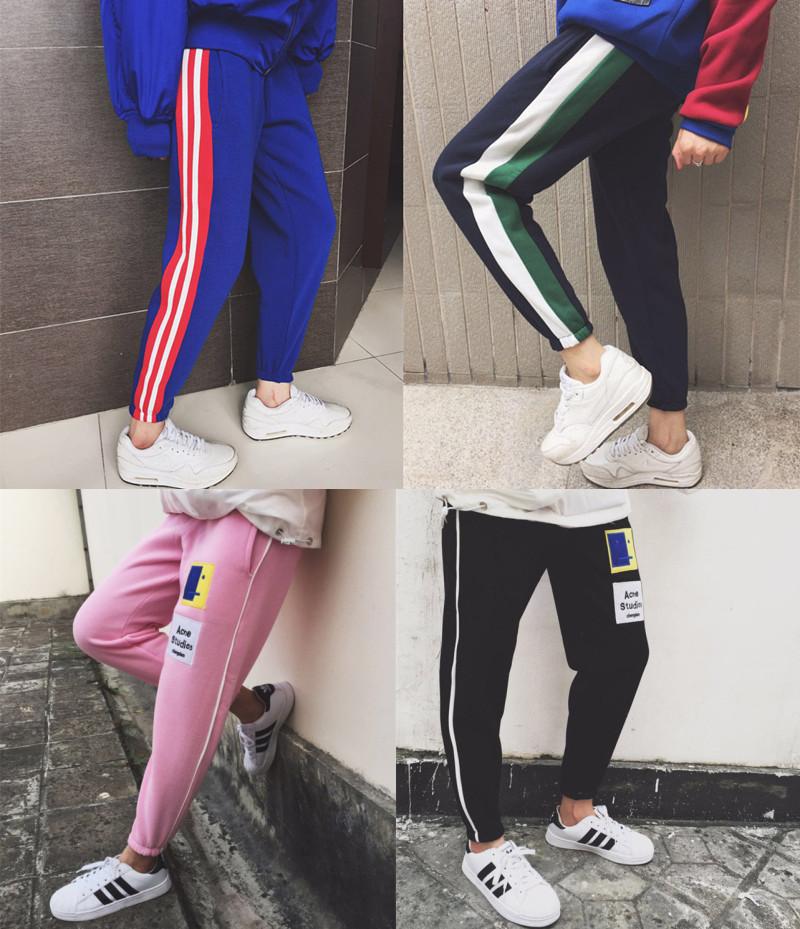 Осень/зима новой корейской версии оригинальной мозаики цветной полосой, что свободные Джокер добавил, что Вэй штаны, бархат гарем брюки ноги штаны