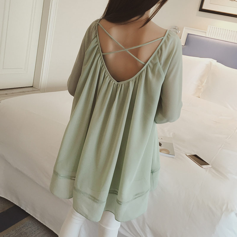 Лета 2016 новых корейских моде сладкие полые крест свободные платье из шифона рубашку обратно прилив
