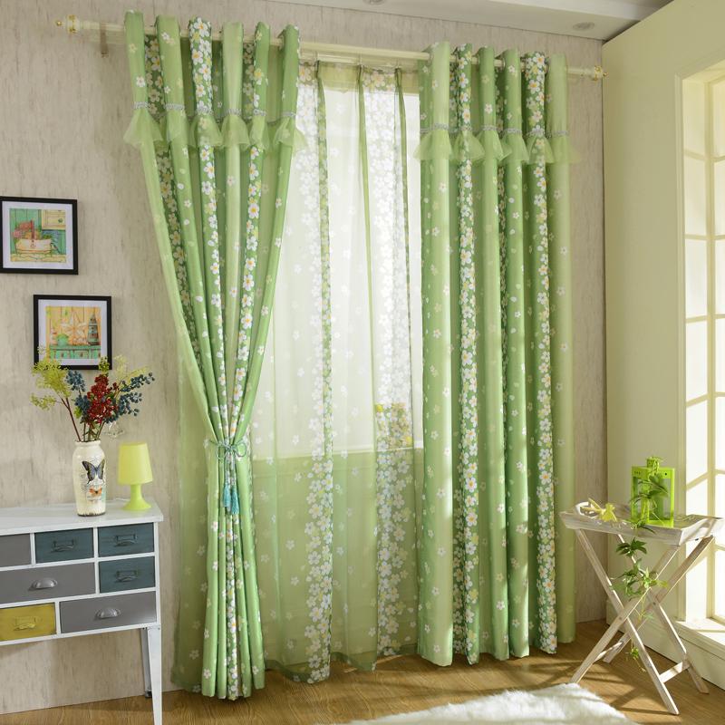 Прямая ткачество зеленый сердце расслабленной гостиная спальня эркер шторы закончил Корейский пастырское зеленый драпировки обычай