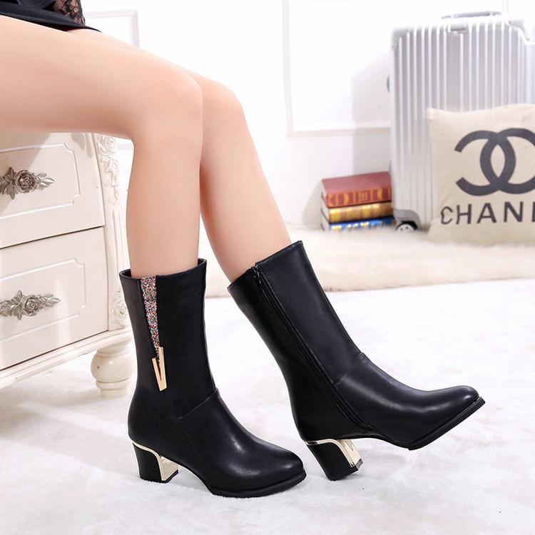 春秋冬短靴女中跟粗跟高跟真皮馬丁靴單靴中筒靴女水鑽女靴子英倫