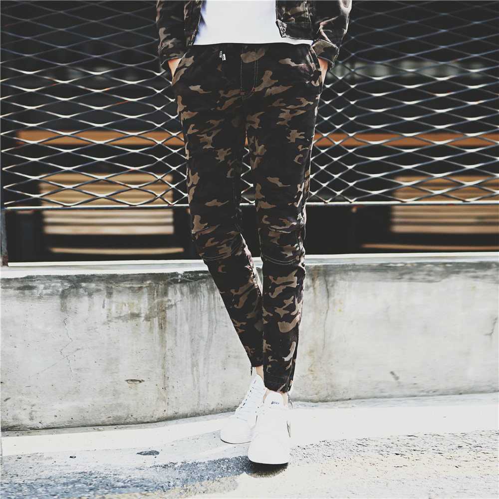 2021 spring and autumn new high elastic casual pants slim camouflage Leggings mens casual pants overalls military pants fashion