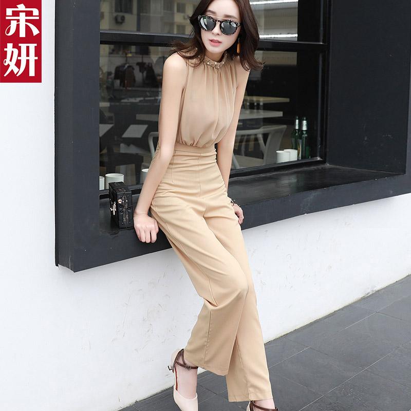 2019夏季新款雪纺连体裤女时尚气质显瘦韩版休闲阔腿连衣裤套装潮
