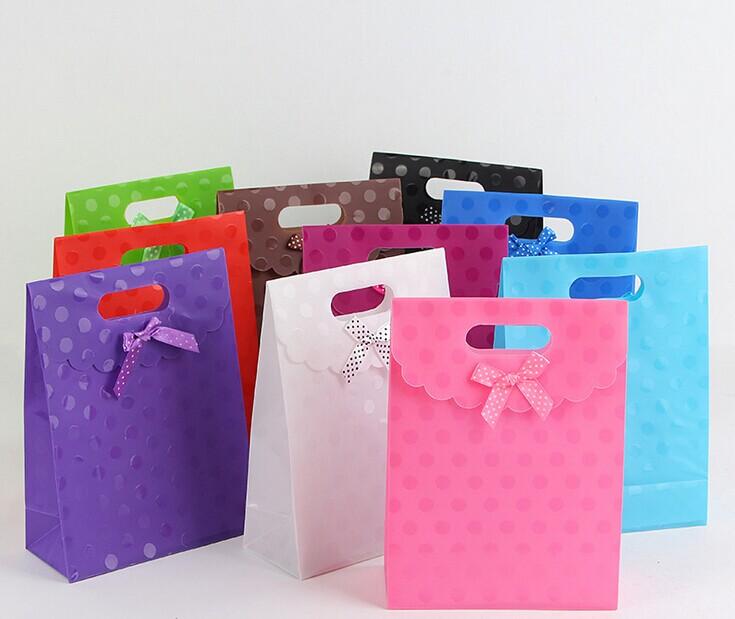 粉色翻盖礼品袋 婚庆回礼袋 防水PP手提袋 圆点包装袋批发特价