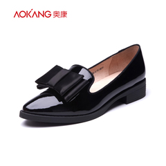 Aokang shoes 2016 new fashion patent leather shoes comfort chunky heels shoes genuine mail