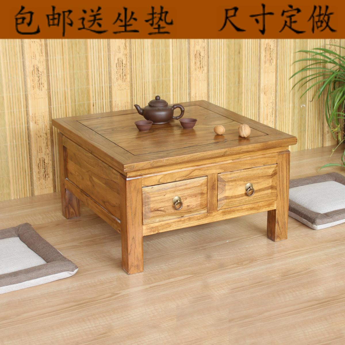 Бесплатная доставка японский татами кофейный столик дерево эркер стол старый вяз таблица печка несколько чайный стол короткая стол простой небольшой стол