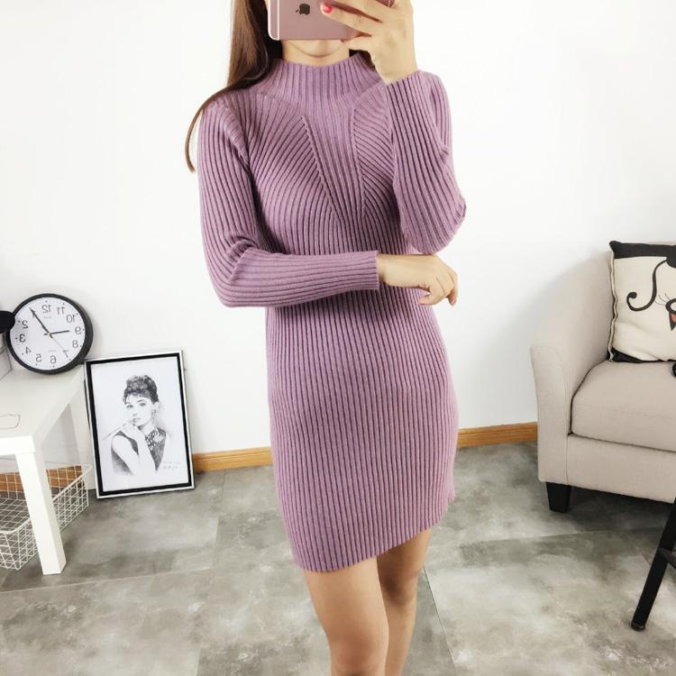 Весной и осенью с новой женщины тонкий тонкий женщин свитер длинный рукав длинный половину водолазку Топ