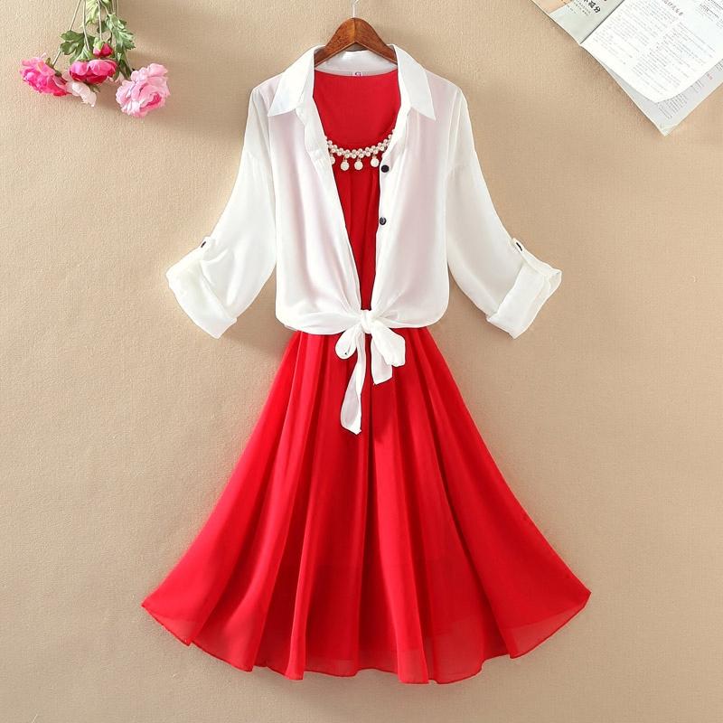 女中长款无袖背心珍珠雪纺裙白搭短款防晒女雪纺衬衫连衣裙两件套