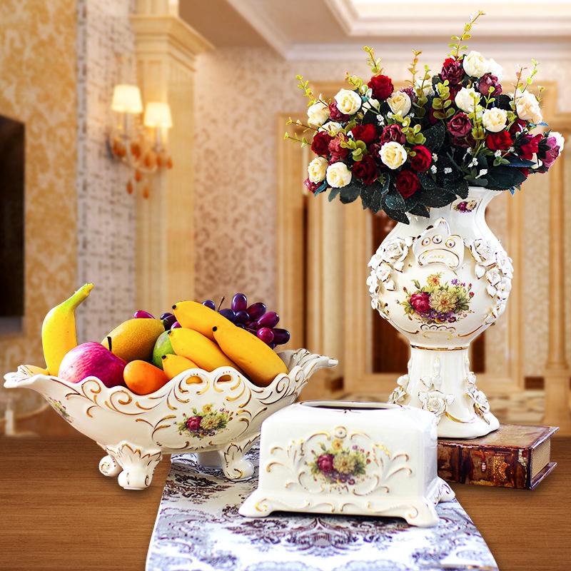 歐式奢華複古 陶瓷水果盤客廳茶幾婚慶裝飾水果盤 套裝擺件