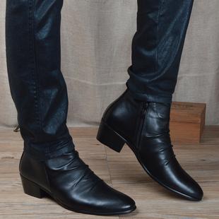 男士 潮流皮靴英伦风尖头短靴内增高中帮男靴子马丁靴高帮皮鞋 韩版