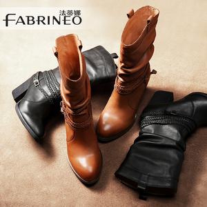 法蒂娜中筒靴真皮女靴高跟粗跟长靴马丁靴英伦靴子女骑士靴女