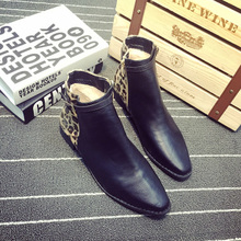 2015 the European and American big fan Street snap fashion leopard horsehair belt buckle point low heel boots Little naked short boots boots