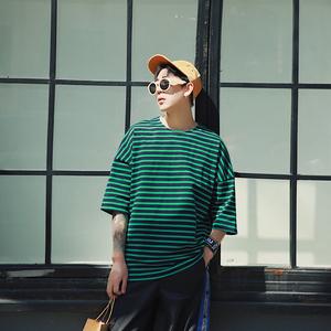 夏季短袖t恤男圆领青年男士韩版撞色上衣服修身男装体恤潮T打底衫