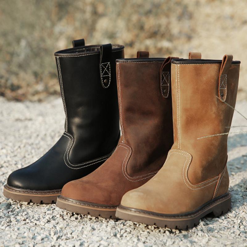 夏季真皮潮流男靴高筒牛皮靴马丁靴透气马靴牛仔骑士靴防水机车靴