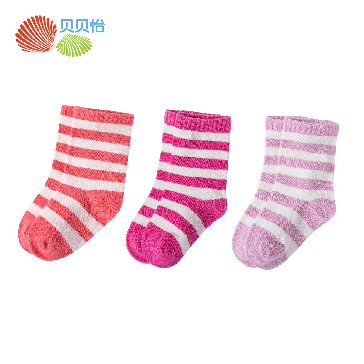 贝贝怡 婴儿袜子宝宝条纹袜柔软儿童棉袜新生儿袜3双装151P105