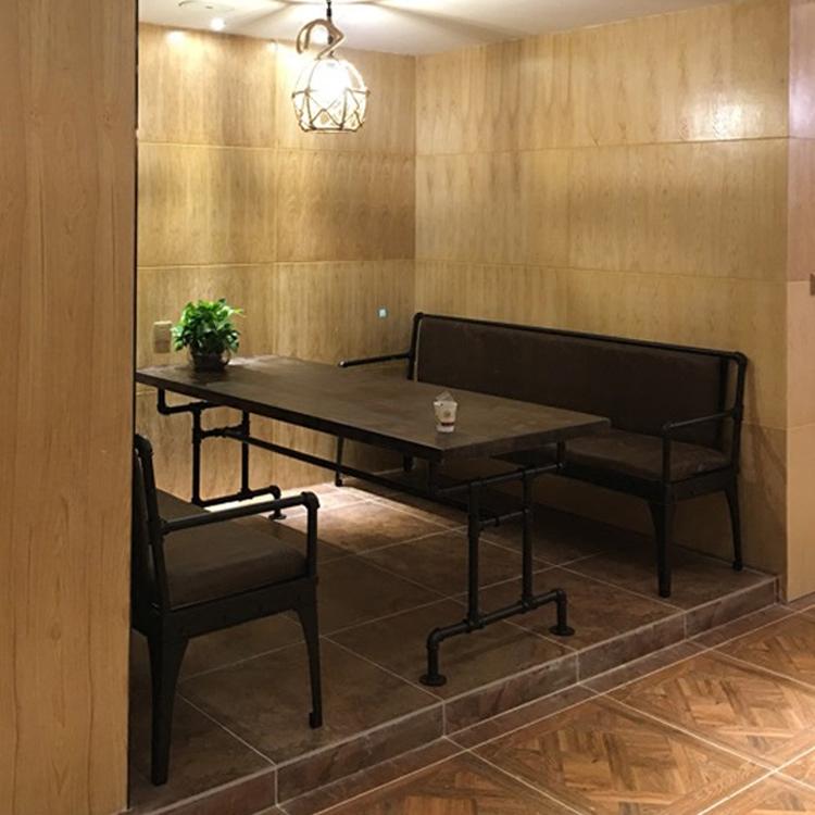 美式复古铁艺沙发创意工业风客厅酒吧餐厅卡座三人靠背皮艺沙发椅