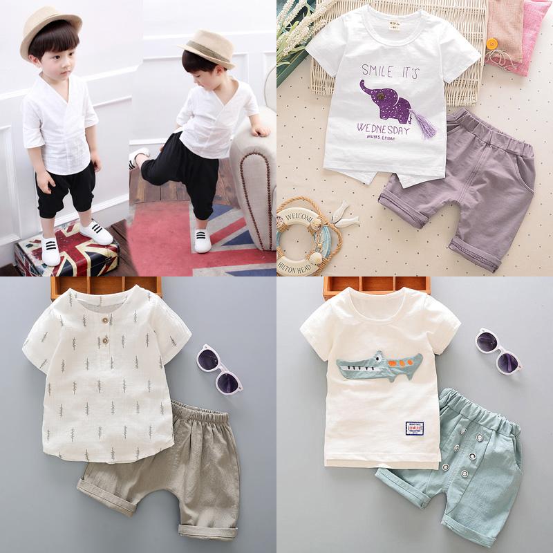 2017新款童装男童宝宝婴儿童衣服短袖儿童套装0-1-2-3-4岁半夏装