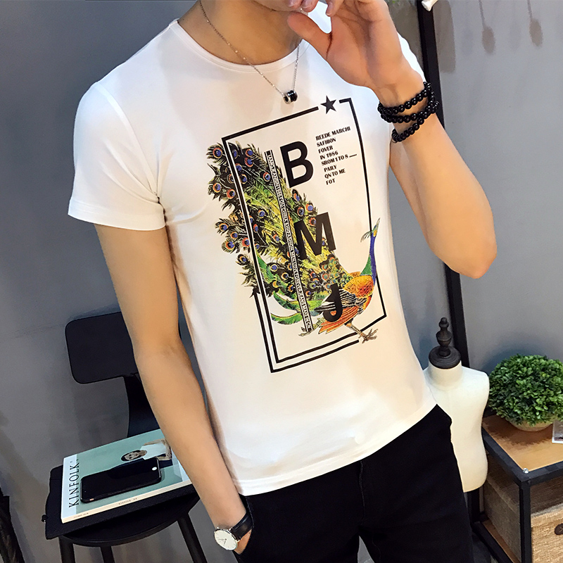 夏装男士短袖T恤夏季个性印花体恤韩版休闲青少年圆领潮男装上衣