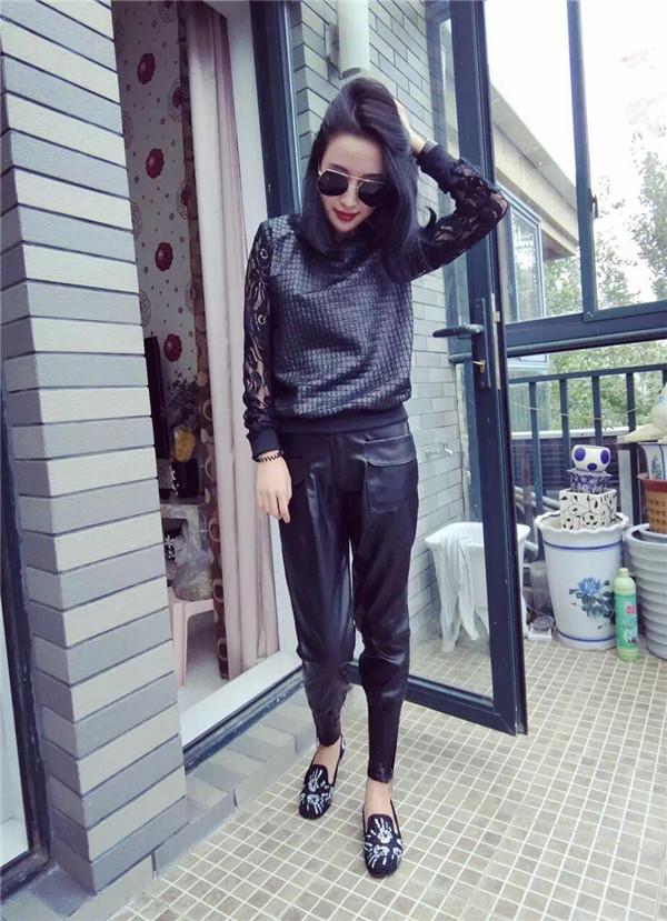 Европе осенью 2015 новые тенденции моды костюма рукава джокер кожа цвет пальто и черные брюки 2 шт набор