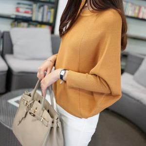 韩版春秋装新款女装圆领纯色宽松上衣针织衫女套头毛衣外套蝙蝠衫