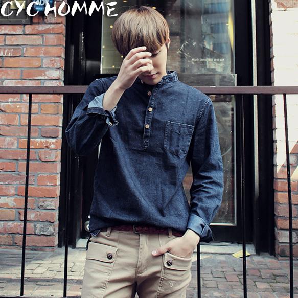 Cyc Homme秋裝 修身男士長袖襯衣 男裝水洗純色牛仔襯衫潮