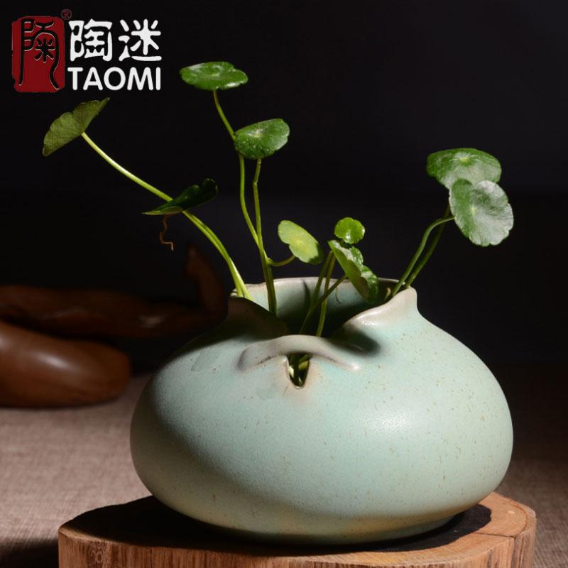 陶迷粗陶花瓶複古 日式花插陶瓷花器茶具擺件中式陶藝小花瓶