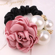 Cool na Korean aesthetic imitation Pearl rose hair tie-rope hair accessories hair band hair band 6278