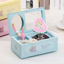 生日礼物仿木卡通嫩粉色八音芭蕾女孩跳舞音乐盒首饰盒带镜子