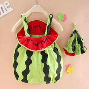 Summer baby watermelon modeling clothes baby clothes clothes photographed watermelon hat Romper climbing clothes children s clothing