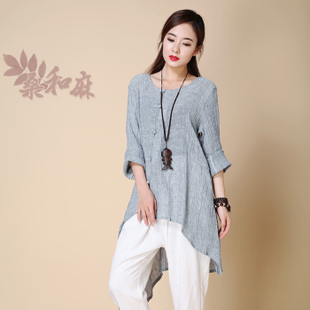 2015 autumn mulberry and hemp Mori female original literary ladies irregular hem Pankou texture wrinkled linen shirt cardigan