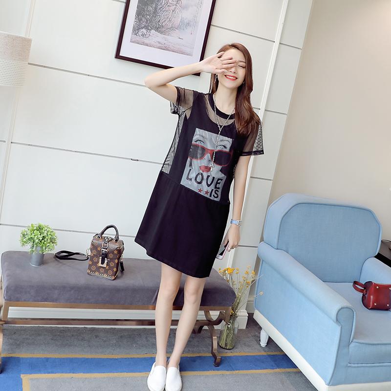裙子夏季2017新款女潮学生韩版短袖纱网印花中长款个性t恤连衣裙