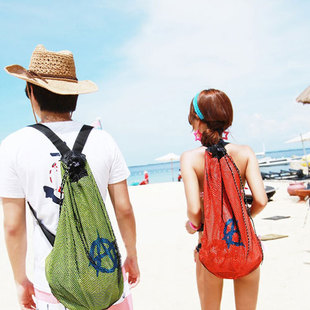 Seaside resort beach book back Korean casual shoulder mesh back beach lovers Korean wave