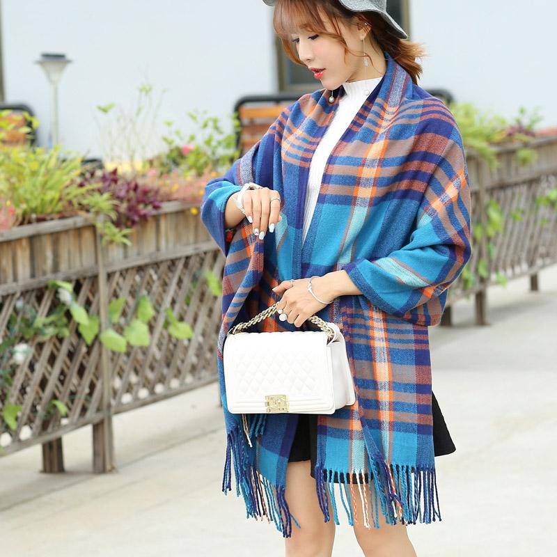 格子 圍巾 女學生長款仿羊絨加厚圍巾披肩兩用超大百變