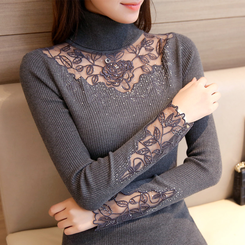 High collar Pullover Sweater womens lace long sleeve slim bottoming sweater knitted thickened sweater autumn and winter new 2018 trend