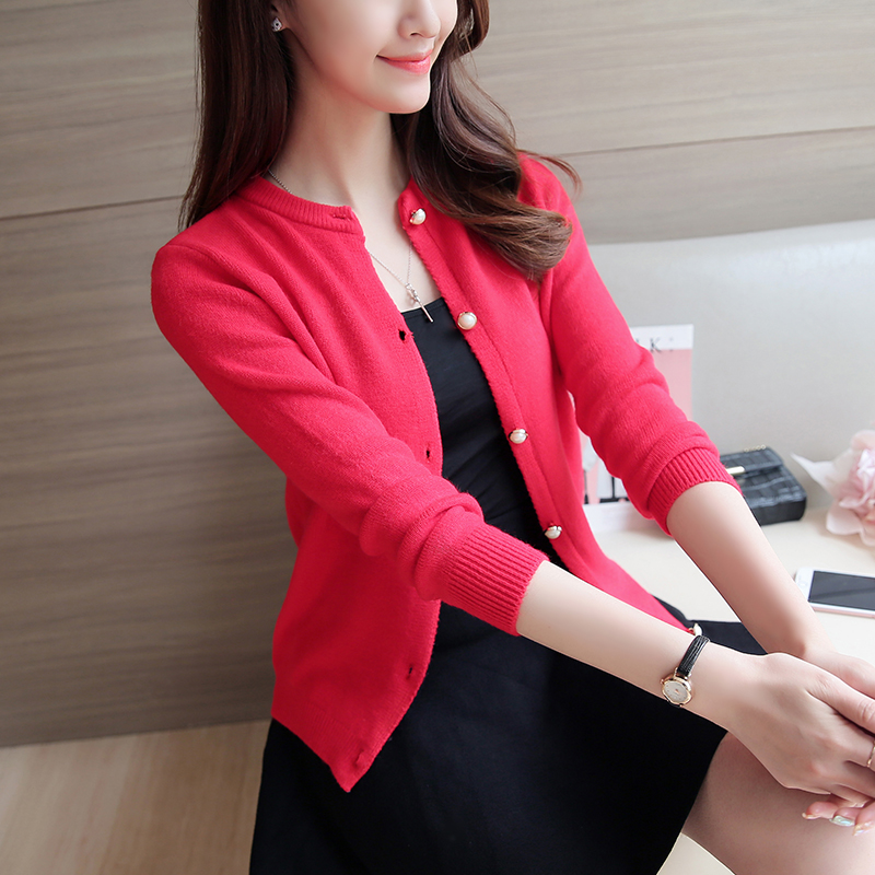 Autumn and winter new Korean knitted sweater long sleeve round neck thickened cardigan slim short jacket