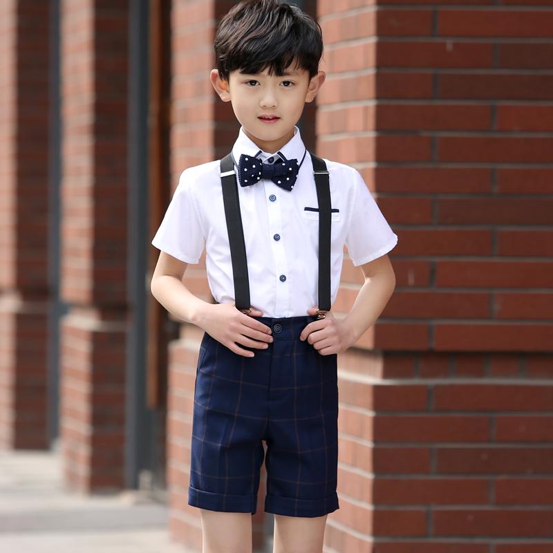 花童礼服男童新款儿童演出服背带裤六一合唱服小学生表演服装男夏