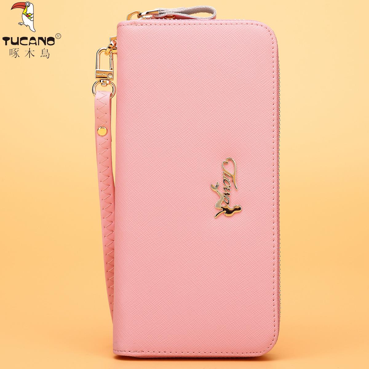 啄木鸟女士钱包长款手包牛皮拉链钱夹十字纹时尚韩版大容量手拿包
