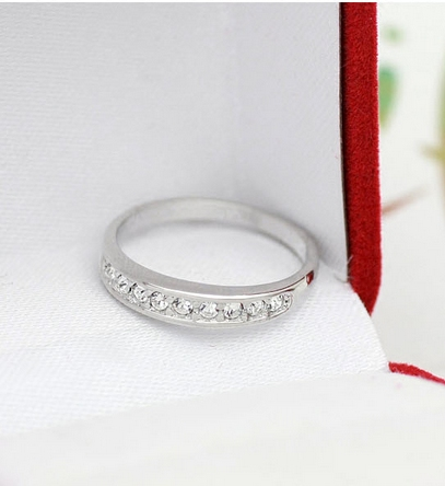 Brand promotion simple design exquisite small silver diamond ring female index finger ring creative personality ring